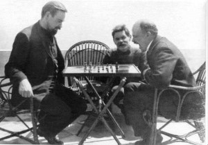 Bogdanov, Gorki and Lenin, playing chess in Capri (1908)